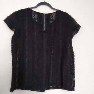 LOFT  Black Lacy Blouse L